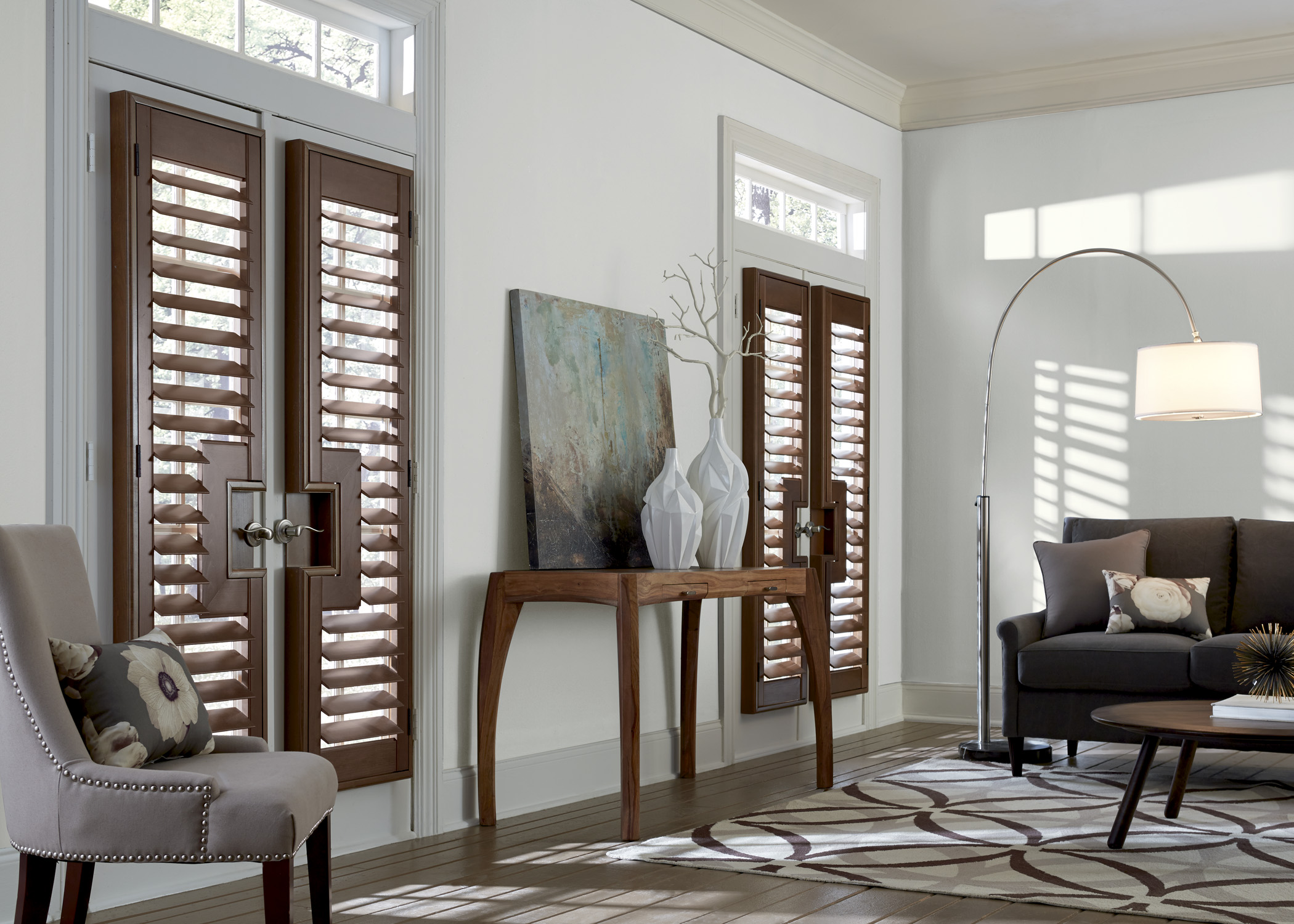 wood shutters in the living room